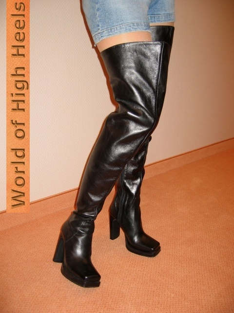 high heels m nner berknie overknee stiefel leder 44 ebay. Black Bedroom Furniture Sets. Home Design Ideas